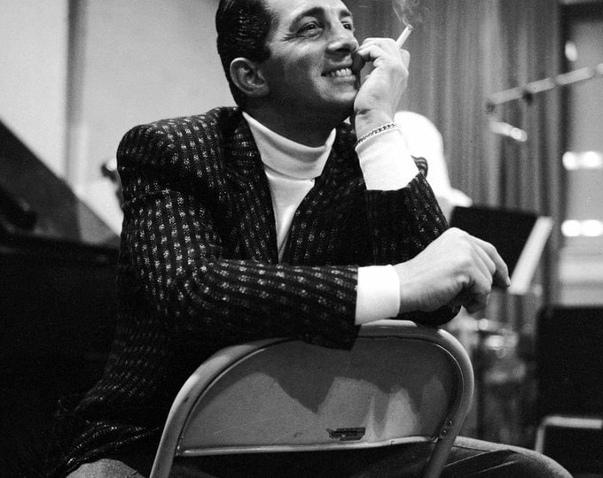 Dean Martin Takes a Break in the Recording Studio - 5X7, 8X10 or 11X14 Photo (AA-902)