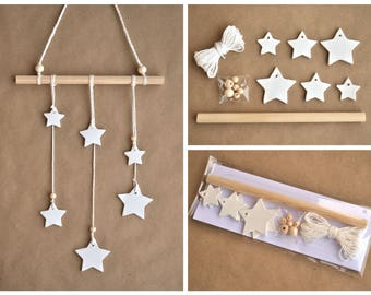 DIY kit wall hanging stars, white clay stars, DIY wall hanging, Stars wall hanging, DIY wall decor, Wall hanging kit, make your own walldeco