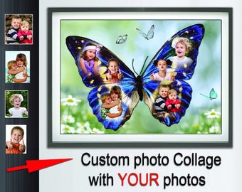 Custom Photo Collage Butterfly photo collage  Custom baby photo collage.  Photo collage shape ideas  Framed art. Wall art poster