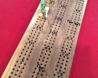 Handmade Walnut Wood Cribbage Board