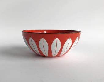 Cathrineholm LOTUS enamel bowl, orange / white, Highly collectible Scandinavian design Grete Prytz Kittelsen Norway / mid century modern