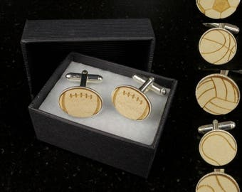 Buttons cuff links - Sports - wood and plated silver - Rugby, football, baseball, tennis, volleyball, basketball - wood silver cufflinks