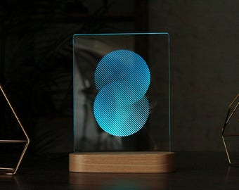 Sphere Acrylic 3d LED Table Lamp, Bedroom Night Light, Bedside Night Lamp,  Decorative