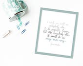 Jane Austen Quote | Calligraphy | | Watercolor Quote | Wall Art 8x10