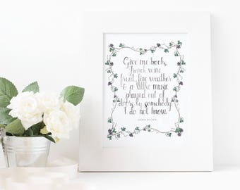 John Keats Quote | Watercolor 8x10 Print | Wall Decor