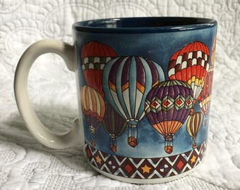 Vintage Hot Air Balloon Mug - Balloons Floating in the Sky - Flowers Inc #692000 - Bright Colored Balloons