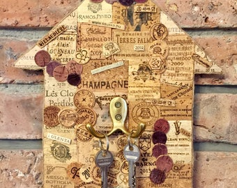 Wall key rack / key holder / key hook / wine lovers gift / key hanger / hallway storage