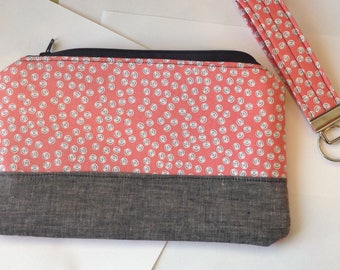 Custom makeup bag personalized accessories pouch jewelry pouch cosmetic bag sunglasses pouch  - denim & floral pouch designer fabric