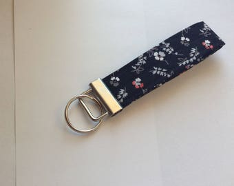 Key wristlet fob keychain fob wristlet key fob key ring women's girls accessories - black and pink designer fabric