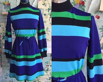 Vintage 1960/1970 Stripe Blue Polyester Mini Dress. Small. Blue, green, navy, black. Robbie Rivers.