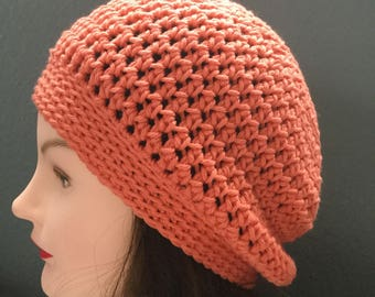 Summer cotton crochet slouchy beanie hat coral