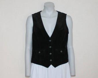 Black Fine Corduroy Women's Vest Steampunk Formal Fitted Waistcoat Edwardian Renaissance Baroque Victorian Large Size