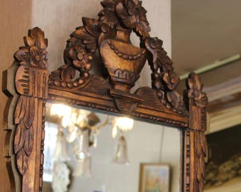 French antique mirror wooden frame, Antique mirror 19th century, wooden framed mirror , Antique mirror, French mirror, Mirror, Gilt frame