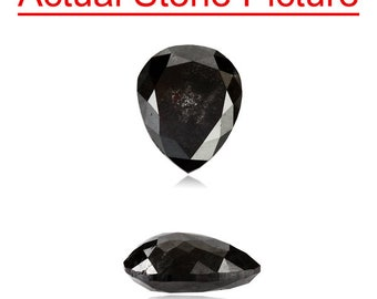 1.91 Cts of 8.98x7.18x3.56 mm GIA Certified AA Pear Modified Brilliant ( 1 pc ) Loose Un-Treated Fancy Black Diamond