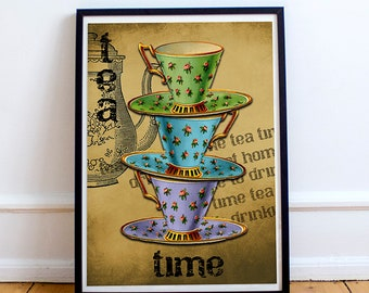 TEA KITCHEN PRINT - Instant Download - 8x10 print - Kitchen Wall Decor - Home Warming Present