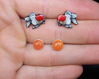 Goldfish stud earrings: Surgical Stainless Steel Great gift for Oranda lovers