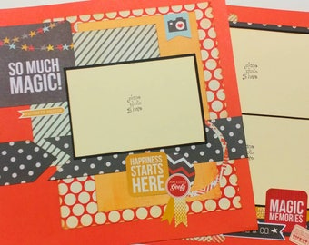 """Premade Scrapbook Layout, Two pages, 12 x 12, Disney """"So much magic"""""""