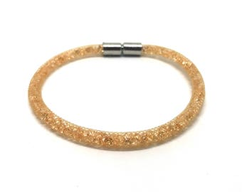 Crystal Bracelet peach with magnetic clasp 18 cm