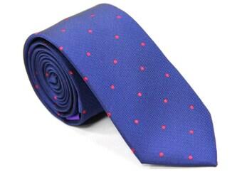 Navy Blue Skinny Tie with Red Polka Dots | Dotted Poka Ties for Men | Spotted Ties for Wedding | Groomsmen Ties
