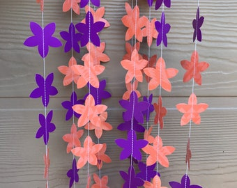 Purple Orange Flower Garland/ Party Garland/ Decoration 12 feet