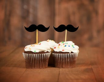 Mustache Cupcake Toppers - Mustache Baby Shower Decor - Little Man Party Decor - Mustache Party