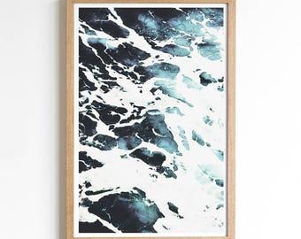 Blue Ocean Wall Art - Ocean Wall Art Decor - Ocean Photo Decor - Coastal Wall Art - Blue Ocean Decor - Ocean Wave Print - Blue Wall Art