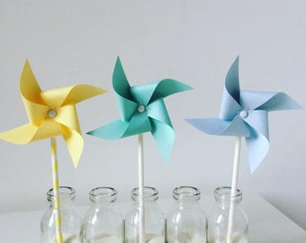 Windmills yellow, blue and Mint