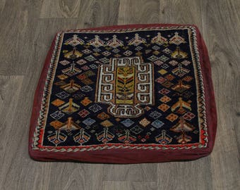 Small Pillow Bag Style Handmade Shiraz Wool Persian Area Rug Oriental Carpet 2X2