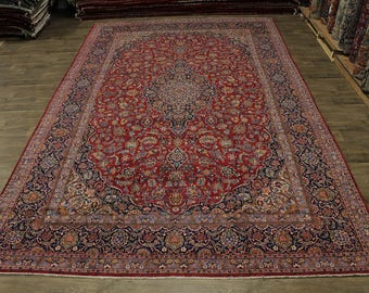Nice Antique Handmade Palace Size Kashan Persian Rug Oriental Area Carpet 10X16