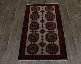 Great Shape Hand Knotted Tribal Balouch Persian Rug Oriental Area Carpet 3'6X6'4