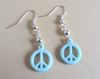 Peace, mint earrings