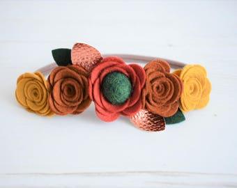 Autumn flower crown, fall flower crown, felt flower crown, felt flower headband, fall headband, autumn headband, fall photo prop headband