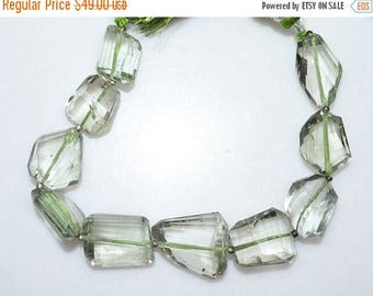 """50% OFF 1 Strand Green Amethyst Faceted Nuggets Briolette - Green Amethyst Faceted Tumble Beads , 13x15 - 18x20 mm , 7"""" - BL2109"""