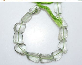 """50% OFF 1 Strand Green Amethyst Faceted Nuggets Briolette - Green Amethyst Faceted Tumble Beads , 8x10 - 13x18 mm , 7"""" - BL2092"""