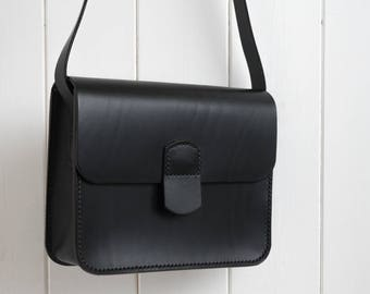 The Little Black Bag, Black Leather Bag, Small Bag, Shoulder Bag, Crossbody Bag, Handmade Bag, Party Bag