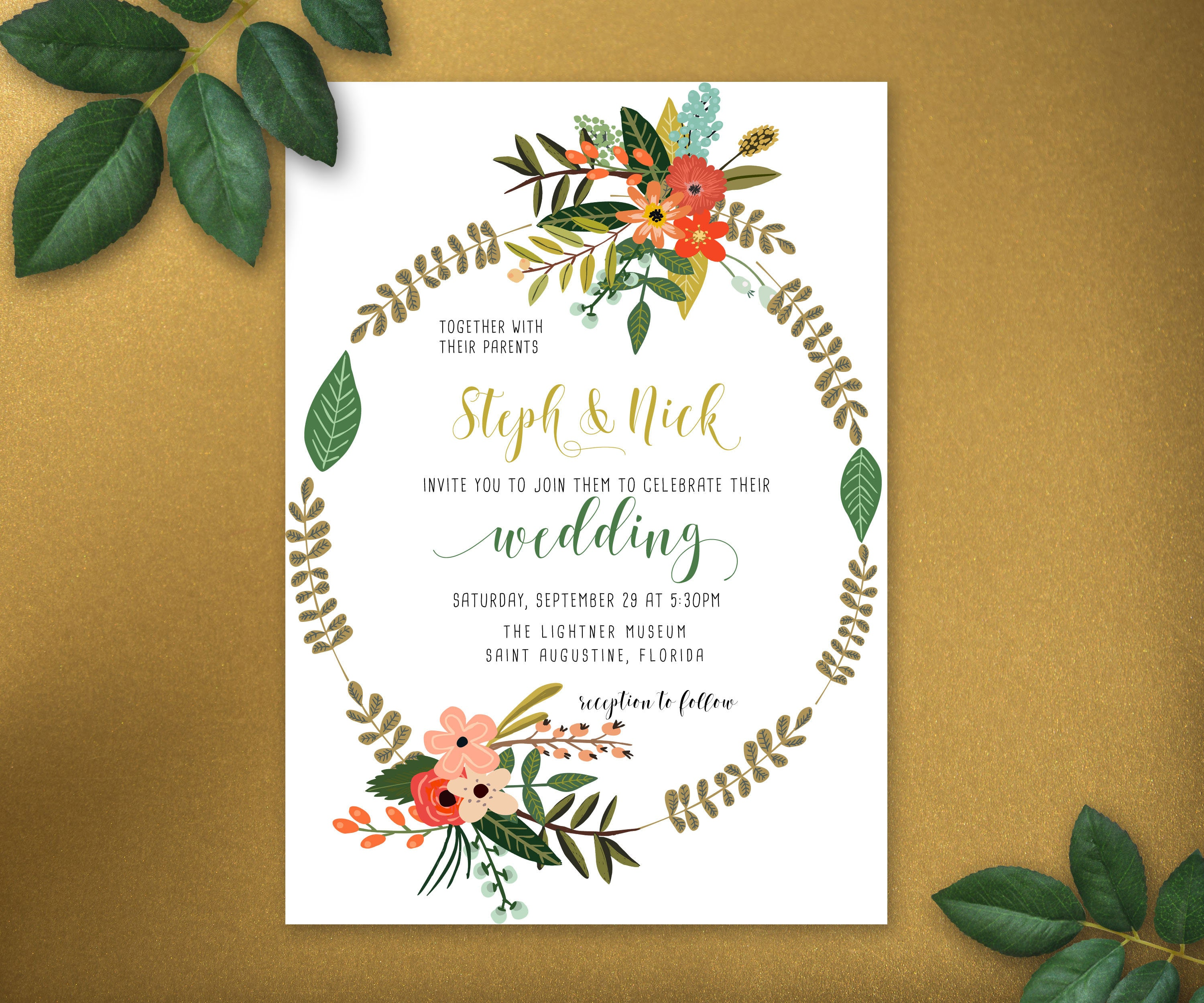 Personalized Floral Bloom Hand Letter Wedding Invitation Suite ...