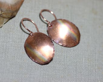 Copper Earrings Hammered Copper Hand Cut Rustic Copper Jewelry