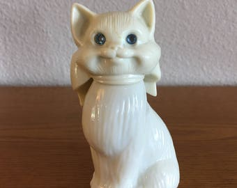 1970's Avon Topaze Cologne Bottle- Perfume Bottle Cat with Blue Rhinestone Eyes