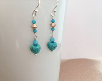 Turquoise Heart And Crystal Drop Earrings