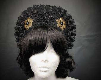 Tudor Goth bronze flower Kokoshnik with black pearls, Frenchhood