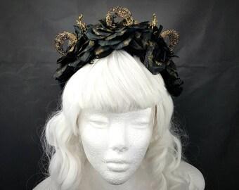 Moon Tree Filigree headpiece in black gold, moon branches rose headband in black gold