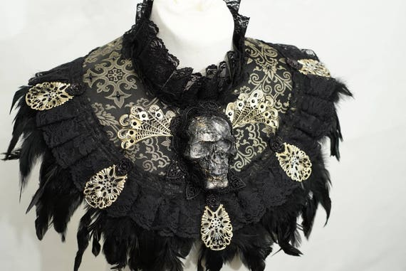 Skull collar with springs made of fabric collar with feather in bronze black / skull