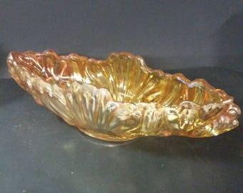 Vintage marigold carnival glass oblong bowl.