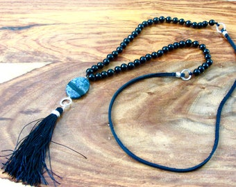 Black oynx necklace Tassel necklace Leather Long Gemstone necklace Hand Knotted bead necklace gift women gift for her gift for mom