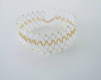Bridal cuff - romantic wedding style jewelry - white and gold bracelet - Regency Empire inspired lace bracelet tatting jewelry