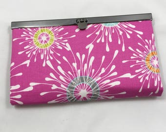 Diva Wallet - Pink Splash with Red Zipper, Multiple Card Pockets with a Coin Zippered Pocket Checkbook, Cellphone Pocketbook, Wife Birthday
