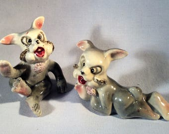 Vintage March Hare Figurines - Two (2) - Crazy Looking Rabbits - Insane