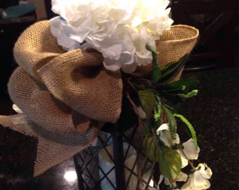 Farmhouse Lantern swag - white hydrangea with large burlap bow - swag only - holiday swag - christmas swag