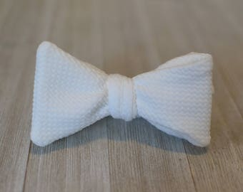 Winter White Pique Bow Tie | Father Son, Matching Bow Ties HANDMADE CUSTOM ORDER, Pre-Tie or Self-Tie | Mens, Boys, Toddler or Baby