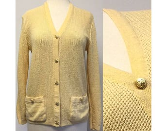Incredible Vintage St. John Knit Cardigan Sweater Buttercream Yellow Gold Brass Buttons Size Small Medium 2 4 6 Retro 1980s